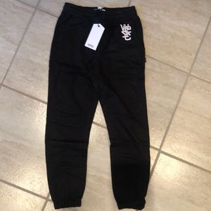 BNWT Wesc boys black sweat track pant. size 8